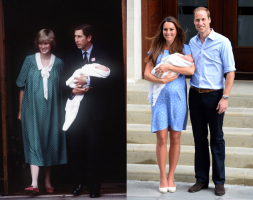 Lady Diana w 1982 roku, księżna Cambridge w 2013 roku, Fot. Getty Images