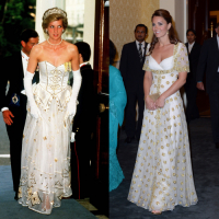 Lady Diana w 1986 roku, księżna Cambridge w 2012 roku, Fot. Getty Images