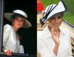 Lady Diana w 1991 roku, księżna Sussex w 2018 roku, Fot. Getty Images