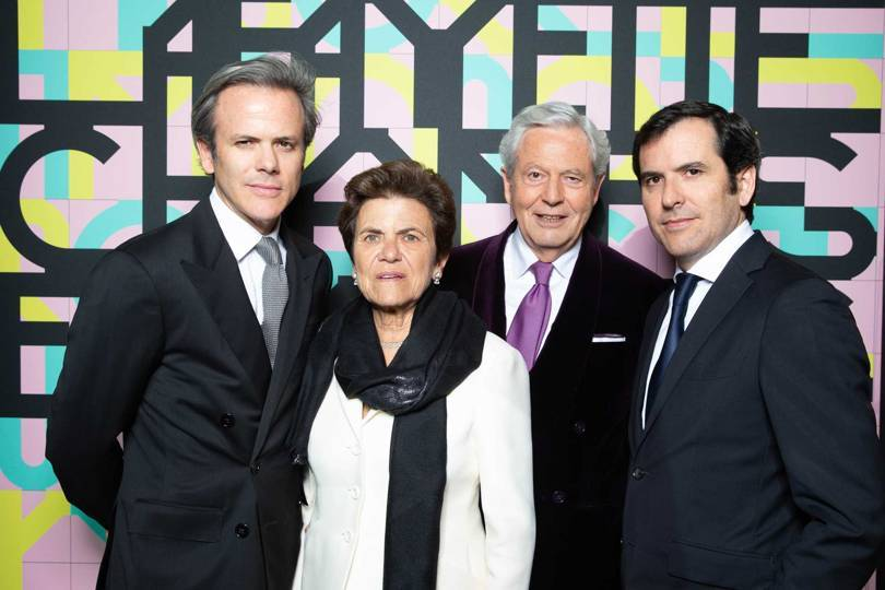Philippe Houzé (second from right), the current Executive Chairman of the Galeries Lafayette, with his family (from left) – Guillaume Houzé, Christiane Houzé, and Nicolas Houzé Credit: DAVID ATLAN