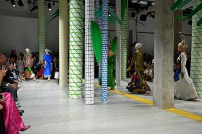 Totems built from recycled paper formed the background at Marni. © Pietro Daprano/Getty Images