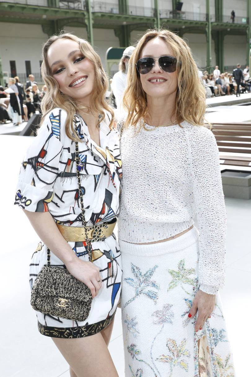 Lily-Rose Depp and her mother Vanessa Paradis at the Chanel Cruise 2020 show in Paris, May 2019. Credit: GETTY IMAGES