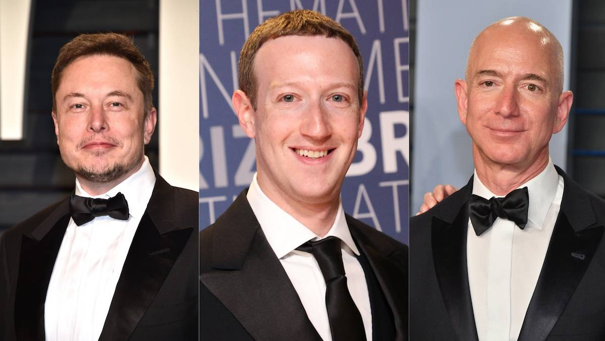 Elon Musk, Mark Zuckerberg, Jeff Bezos (Fot. Getty Images)