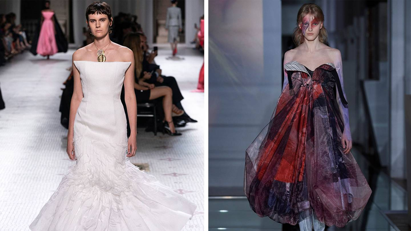 From Clare Waight Kellers new collection for Givenchy (left), and John Gallianos for Maison Margiela. Credits: (LEFT) GORUNWAY.COM; MAISON MARGIELA