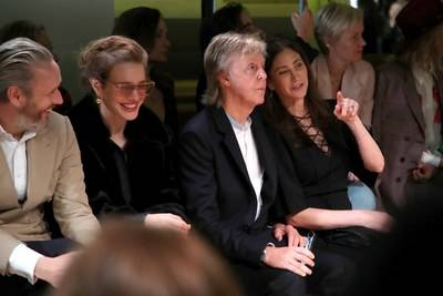 In the front row at the Stella McCartney Spring/Summer 2020 show, from left, Alasdhair Willis, Natalia Vodianova, Sir Paul McCartney and his wife, Nancy Shevell
