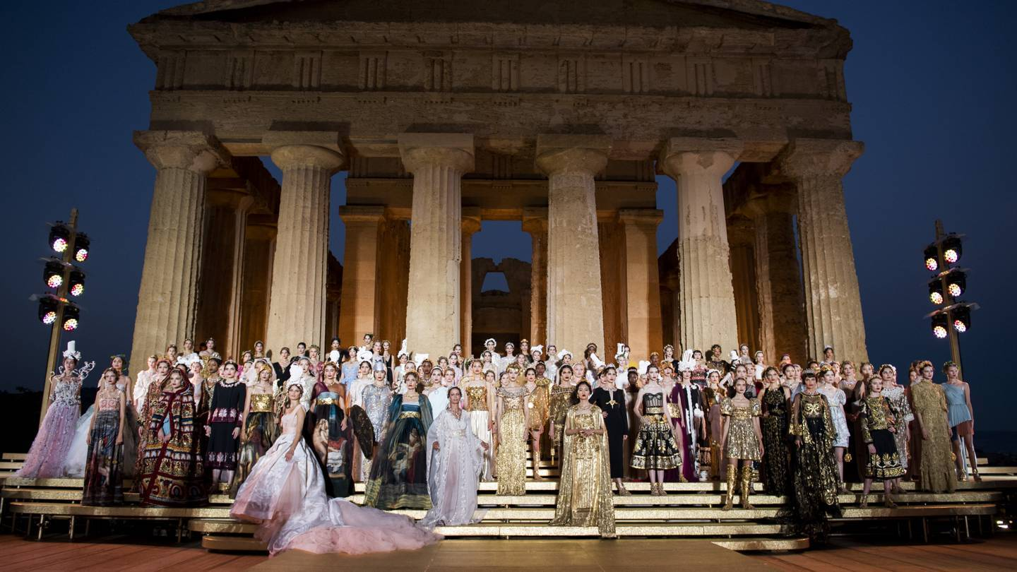 Dolce & Gabbanas Alta Moda show at the Concord Temple in the Valley of the Temples, Agrigento, Sicily, July 2019. Credit: COURTESY OF DOLCE & GABBANA