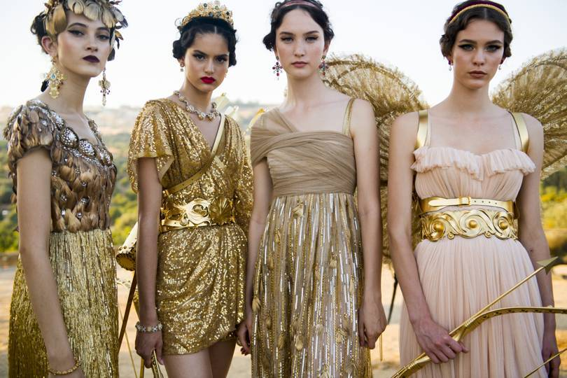 Backstage at Dolce & Gabbanas Alta Moda show at the Concord Temple in the Valley of the Temples, Agrigento, Sicily, July 2019. Credit: COURTESY OF DOLCE & GABBANA