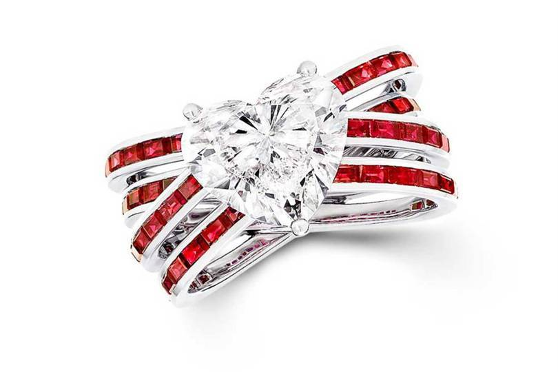 A heart-shape diamond ring with ruby baguettes from Graffs new entry-level Kiss range