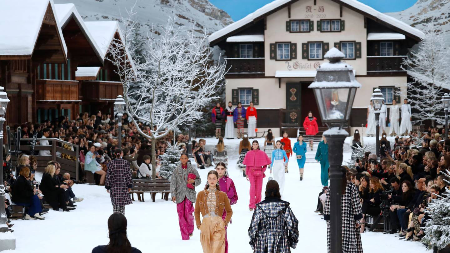 Chalets, snow-capped mountains and frosted trees provided the backdrop for Karl Lagerfelds final creations. Credit: GETTY IMAGES