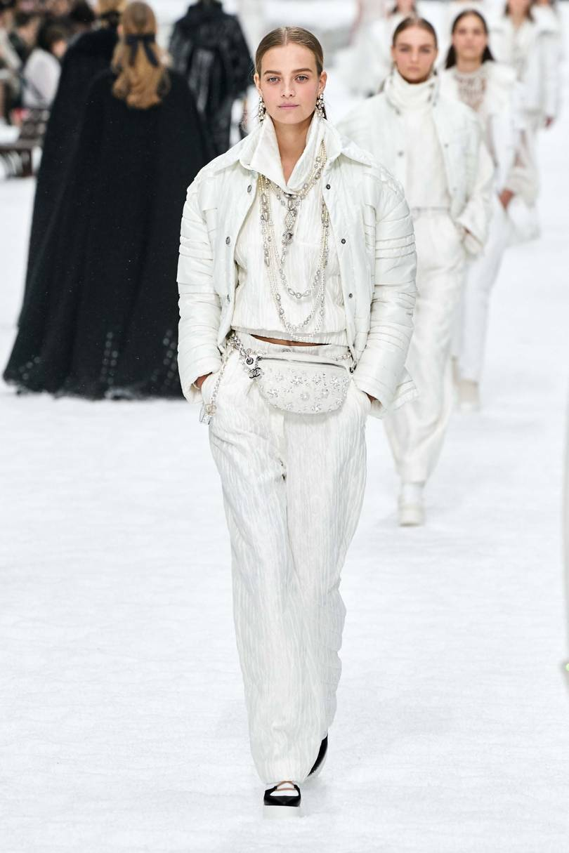 The Swiss ski resort set was an ideal match for the parade of warm white outfits. Credit: ALESSANDRO LUCIONI / GORUNWAY.COM