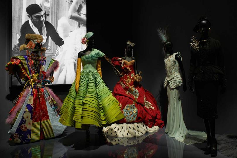 The Designers for Dior section of the new V&A exhibition, Christian Dior: Designer of Dreams. The installation here shows designs from John Gallianos tenure at the maison. Credit: ADRIEN DIRAND