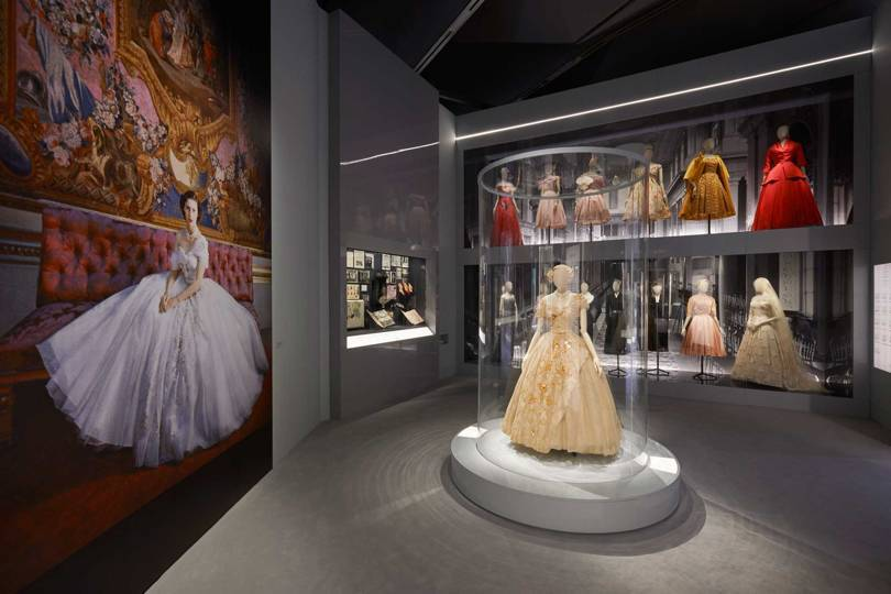 The Dior in Britain section of the V&A exhibition, Christian Dior: Designer of Dreams. On the left is the Cecil Beaton portrait of Princess Margaret on her 21st birthday in 1951, and the actual dress she wore for the occasion is displayed in the centre of the room