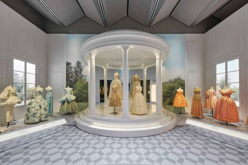 The Historicism section of the V&As new exhibition, Christian Dior: Designer of Dreams. Credit: ADRIEN DIRAND