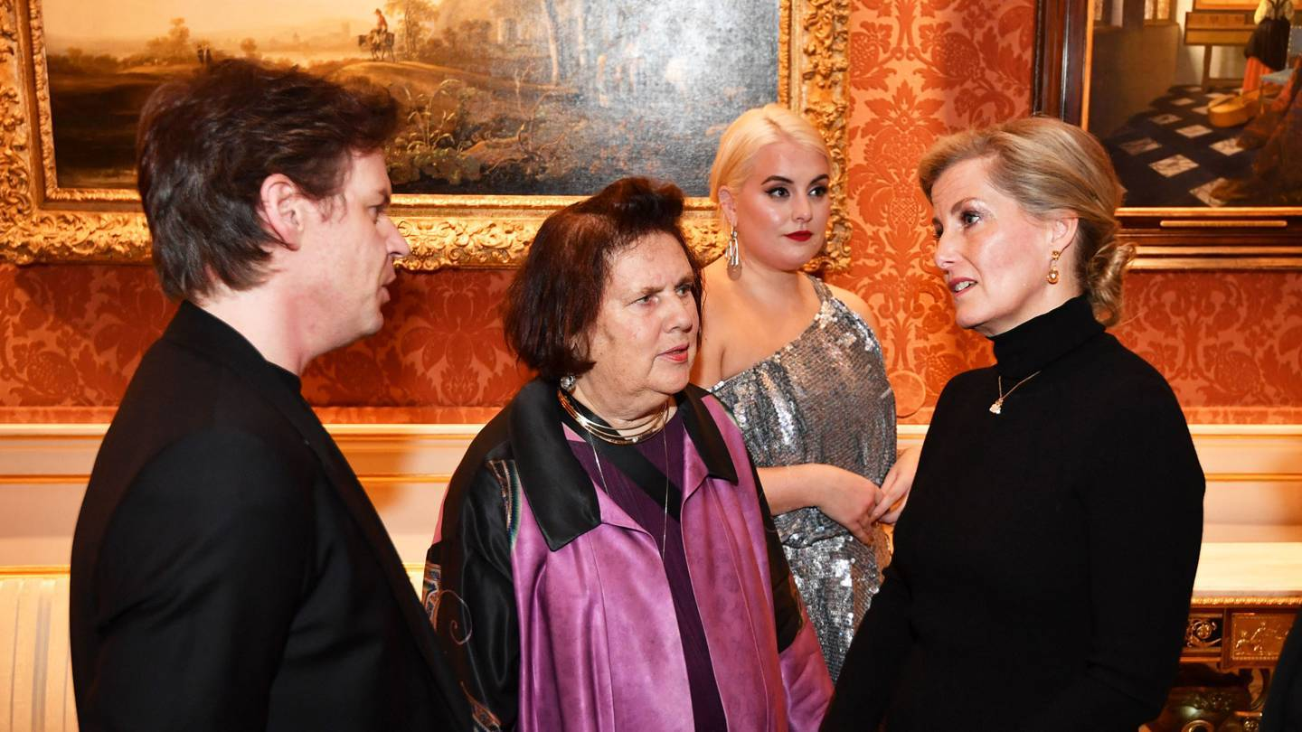 Sophie, Countess of Wessex, in conversation with designer Christopher Kane, Suzy Menkes, and model Felicity Hayward at the reception to celebrate 10 years of the London College of Fashions Better Lives project. Credit: GETTY