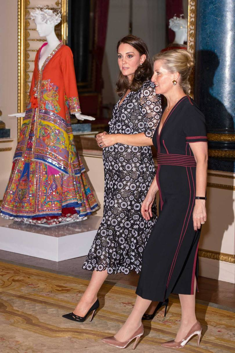 The Duchess of Cambridge and the Countess of Wessex tour the Commonwealth Fashion Exchange exhibition. Credit: GETTY