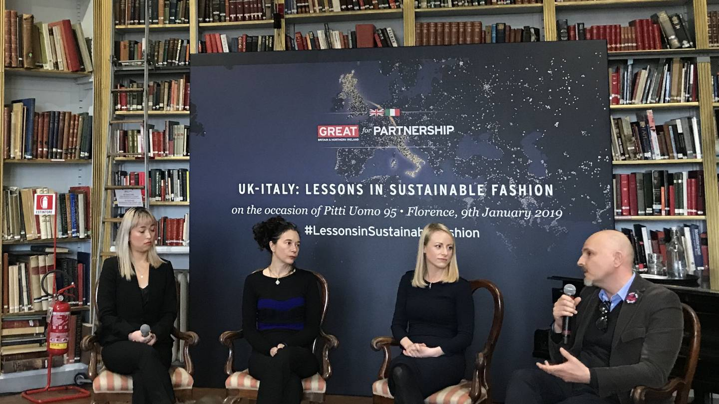 UK – Italy: Lessons in Sustainable Fashion round table took place during Pitti Immagine at The British Institute, Florence. Participants are (from left) Debra Guo, Environmental Sustainability Manager, Stella McCartney; moderator Orsola de Castro of Fashion Revolution; Jocelyn Wilkinson, Responsibility Programme Director, Burberry; and Giorgio Ravasio, Country Manager for Italy, Vivienne Westwood