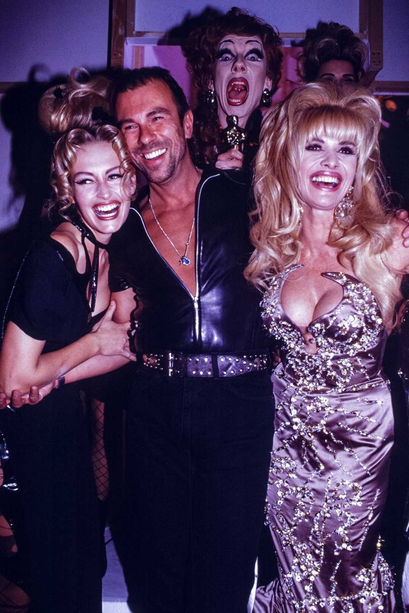 From left, Estelle Lefébure, Thierry Mugler and Ivana Trump at his Prêt-à-Porter Spring/Summer 1992 show in Paris, October 1991
