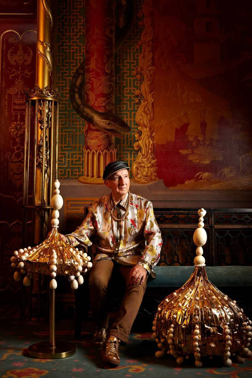 Stephen Jones in the Music Room of the Royal Pavilion, Brighton with hats made for the statue of George IV in Trafalgar Square (and his horse) for the London Olympics in 2012. Credit: