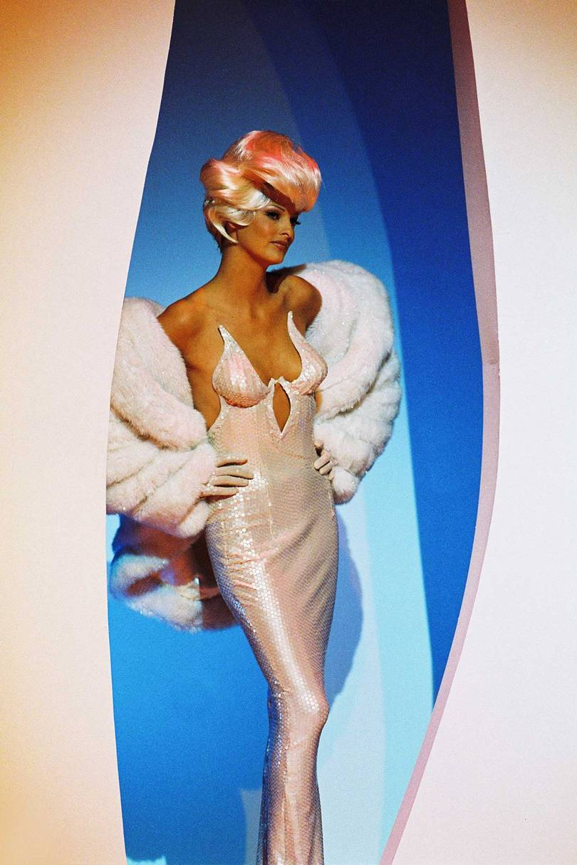 "Linda Evanglista wearing Thierry Mugler couture for the filming of the video for George Michael's ""Too Funky,"" Paris, 1992, directed by George Michael and Thierry Mugler