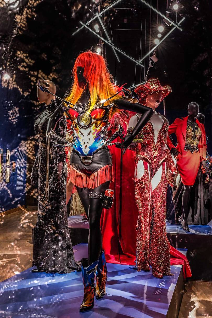 An installation from the Thierry Mugler: Couturissime exhibition at the Montreal Museum of Fine Arts