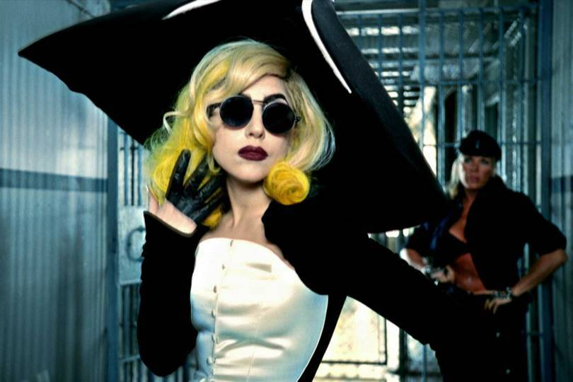 "Lady Gaga wearing an ensemble from Thierry Muglers Anniversaire des 20 ans collection, Prêt-à-Porter, Autumn/Winter 1995–1996, in the video for the song ""Telephone"" (from The Fame Monster album), 2010, directed by Jonas Åkerlund. Credit: COURTESY OF HAUS OF GAGA"