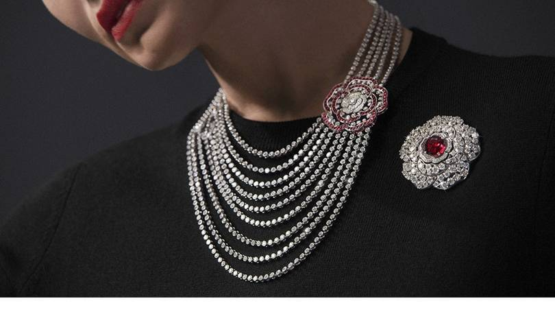 Chanel red incandescent transformable necklace in white gold, rubies and diamonds with a camellia that can be worn in many different variations. Credit: CHANEL