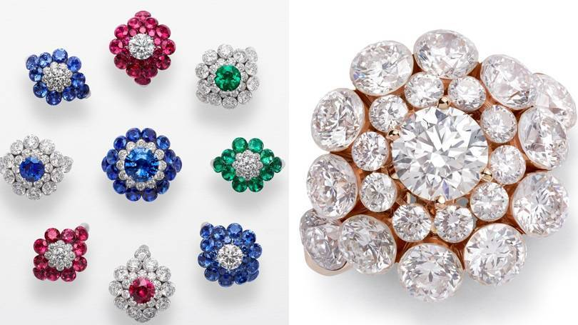 Chopards Magical Setting cluster rings with diamonds, sapphires, rubies and emeralds – a style that can be traced back to the 14th century. Credit: CHOPARD