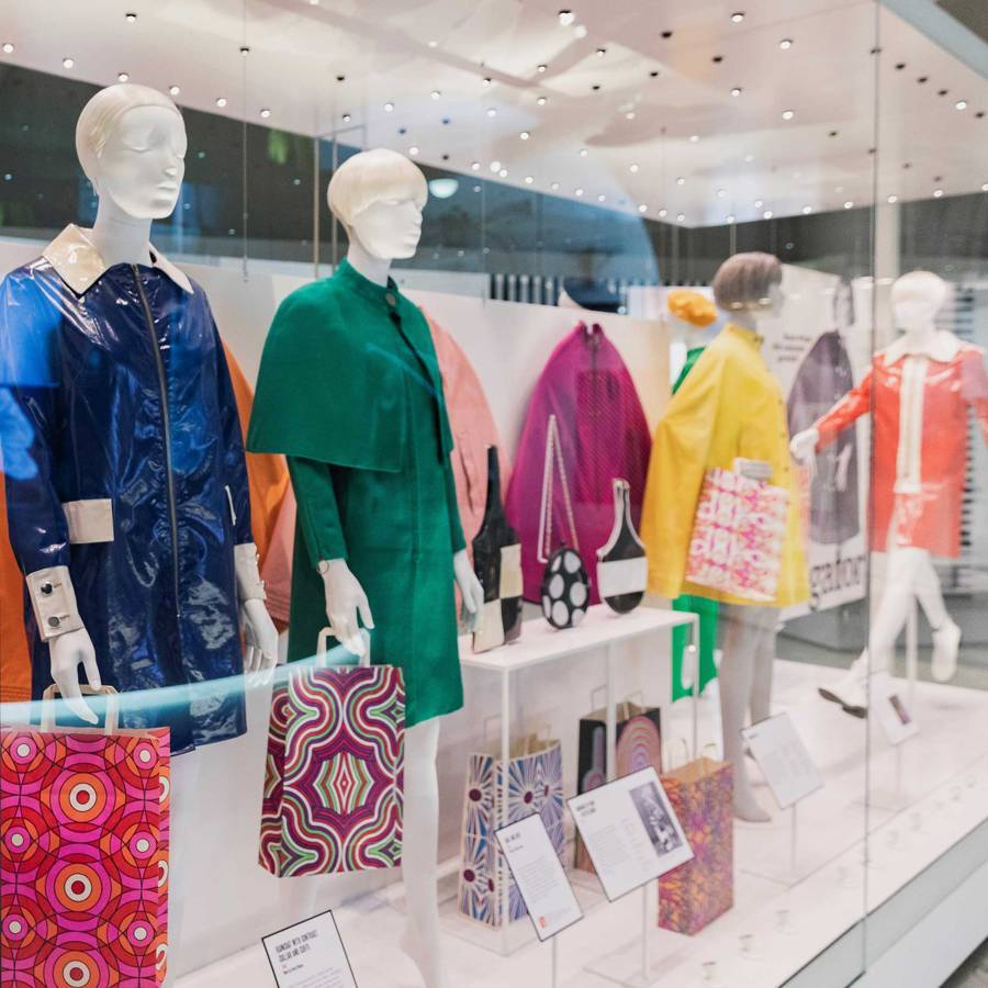 An installation of Mary Quant Alligator rainwear at the current V&A retrospective of her work. Credit: @SUZYMENKESVOGUE