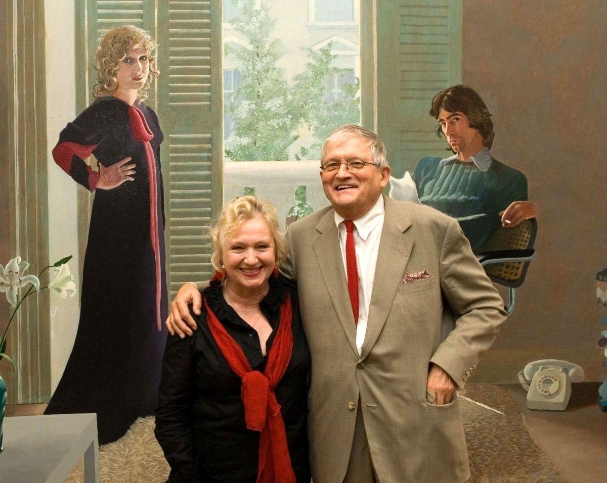 "Celia Birtwell i David Hockney na tle obrazu ""Mr and Mrs Clark and Percy"" (1970-71) w Tate Britain (Fot. Nick Harvey, Getty Images)"