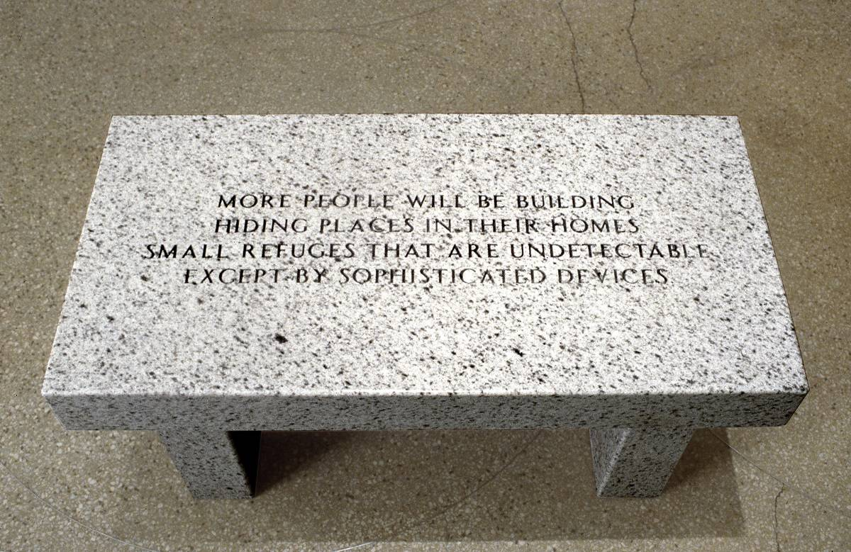 Jenny Holzer, Living: More people will be building hiding places..., 1989