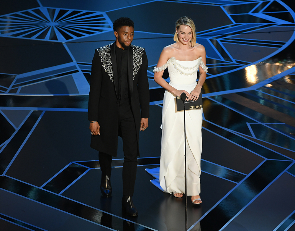 Chadwick Boseman i Margot Robbie (Fot. Kevin Winter, Getty Images)