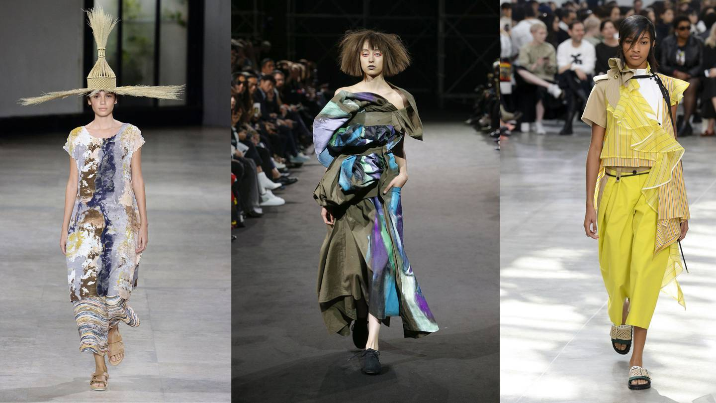 At the recent Paris Fashion Week Spring/Summer 2019 collections, Japanese designers singular approach to texture and silhouette stood out. From left, Yoshiyuki Miyamae at Issey Miyake; Yohji Yamamoto; and Sacai. Credit: YANNIS VIAMOS / MONICA FEUDI / INDIGITAL.TV
