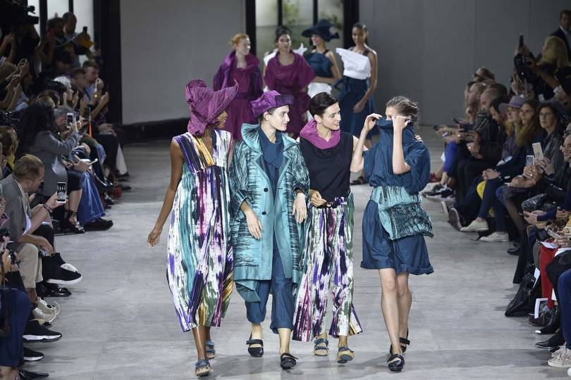 At Issey Miyake Spring/Summer 2019, colours both subtle and sumptuous, and beautiful folding techniques. Credit: GETTY