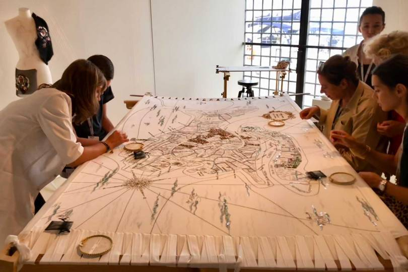Master embroiderers from the French house of Lesage hold a workshop for the public during the Homo Faber exhibition in Venice in September 2018 Credit: @SUZYMENKESVOGUE