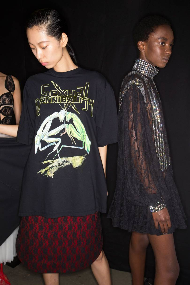 Backstage at Christopher Kane Spring/Summer 2019. Inspired by nature documentaries of predatory insects, Kanes slogan Ts read Sexual cannibalism, Credit: SONNY VANDEVELDE / INDIGITAL.TV