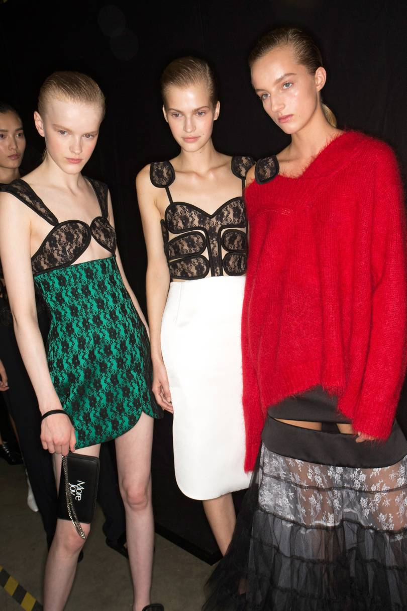 Backstage at Christopher Kane Spring/Summer 2019. The lacy looks were inspired by racy, lacy strippers underwear
