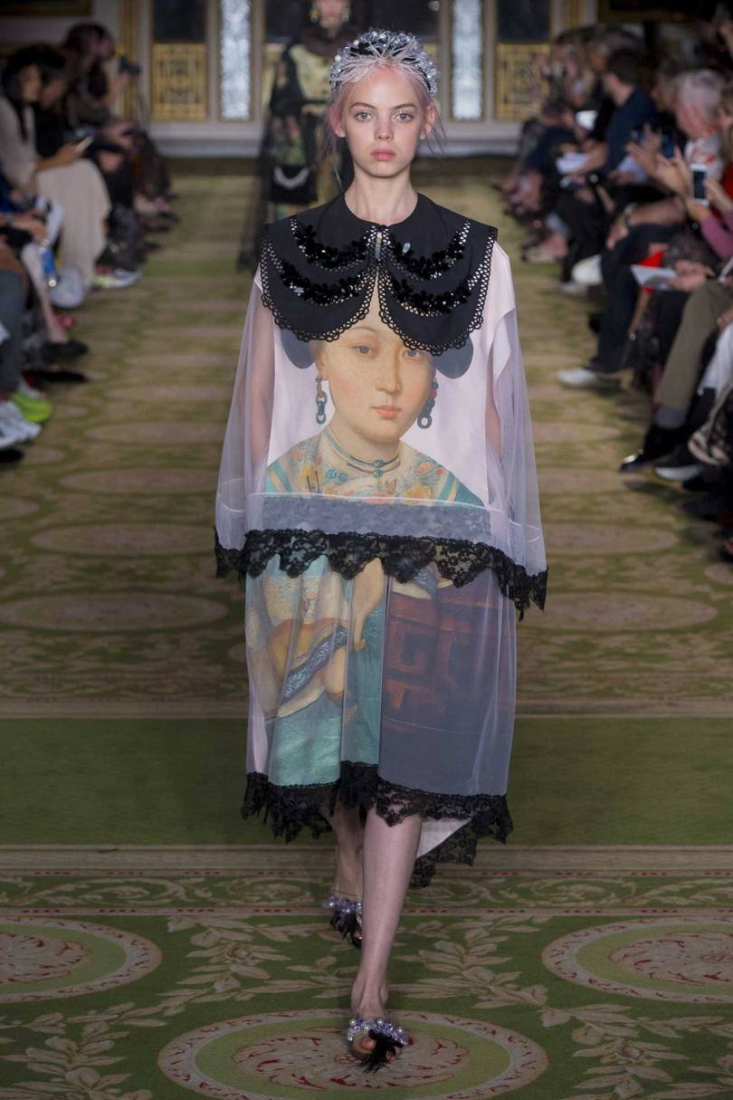A historic portrait printed on to a dress from the 18th Century Chinese Ladies Interpretations segment of Simone Rochas Spring/Summer 2019 show, Credit: KIM WESTON ARNOLD / INDIGITAL.TV
